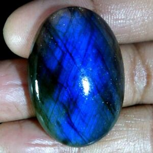 100-Natural-Blue-Fire-Labradorite-Round-Fancy-Oval-Cabochon-Loose-Gemstone