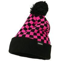 Pink & Black Pom Pom Ski Checker Winter Skull Warm Cuffed Long Knit Beanie Hat