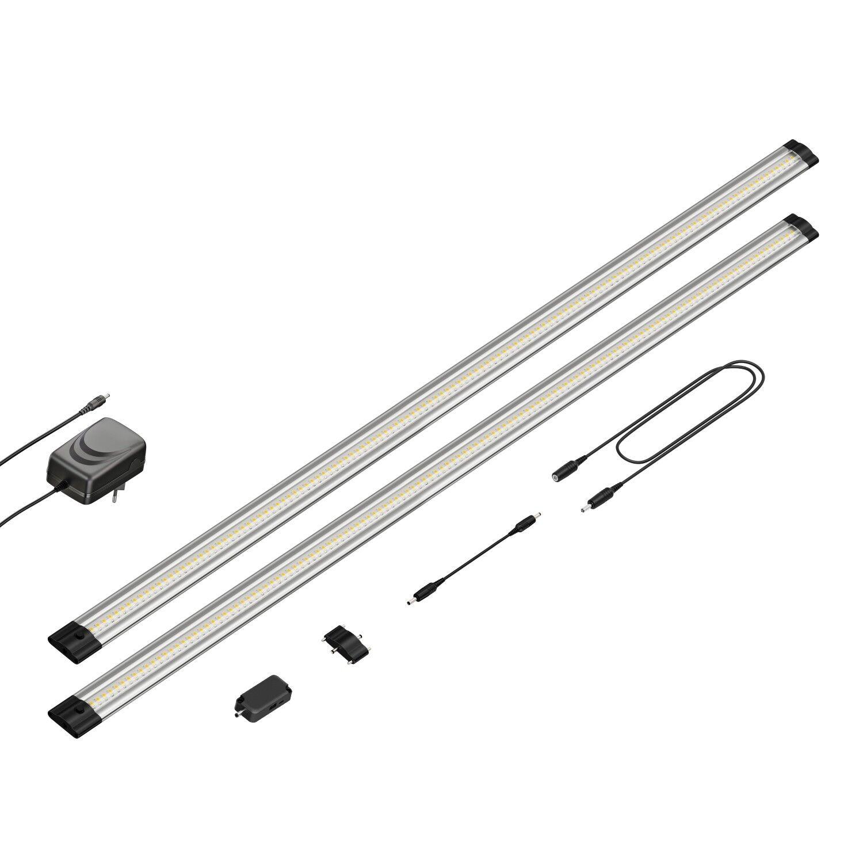 LED Unterbau-Leuchte Siris, Infrarot-Sensor, flach, je 90cm, 800lm, weiß, 2er Se