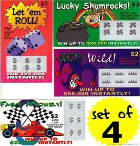 Collection Ici 4 Faux Faux Tous Les Meilleurs Raye Loto Loterie Des Billets-fun Gag Blague Farce-afficher Le Titre D'origine Lustre Brillant