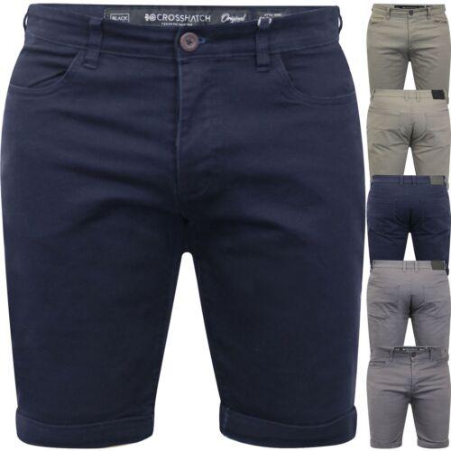 Mens Crosshatch Skinny Chino Slim Shorts Stretch Cotton Cargo Combat Half Pant