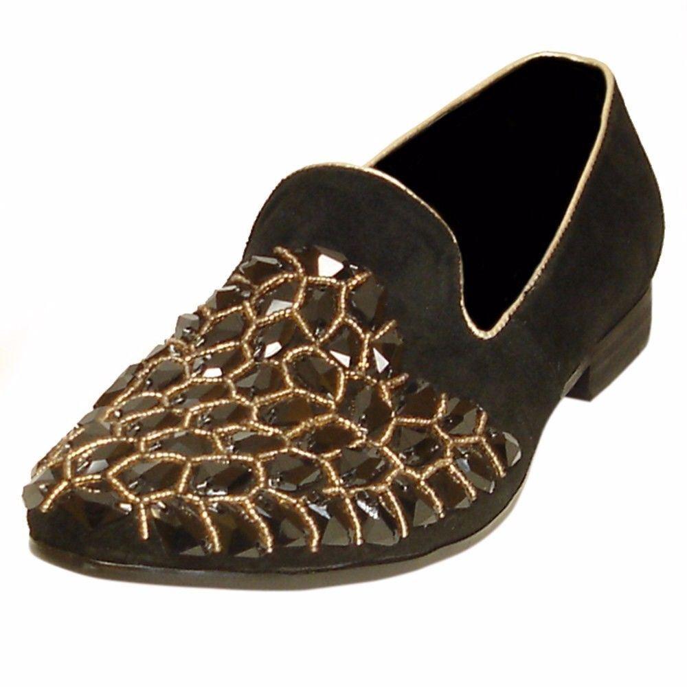 Fiesso Black Leather Rhinestone Embellish Dress Slip On Slipper Men Loafer shoes
