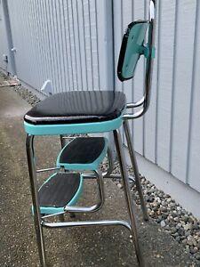 1955 Vintage Cosco Chrome Kitchen Step Chair Aqua Local Pick Up Seattle