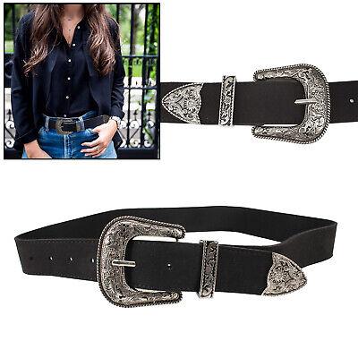 Women PU Leather Western Black Belt with Silver Metal Buckle Waistband for Dress | eBay