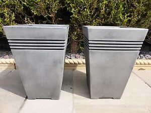 Image Is Loading SET OF 2 Tall Large Square Grey Resin
