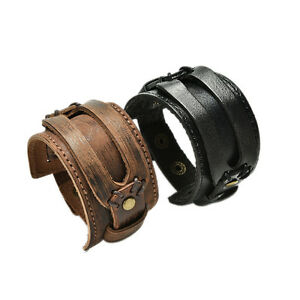 1-X-Leather-Cuff-Double-Wide-Bracelet-Rope-Bangles-for-Men-Braclets-Jewelry-ZFJ