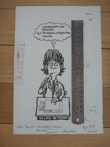 "EDUCATION SCHOOL BOY BRAIN Pen & Ink orig 20th C illus""Bill Hewison"" Art Editor"