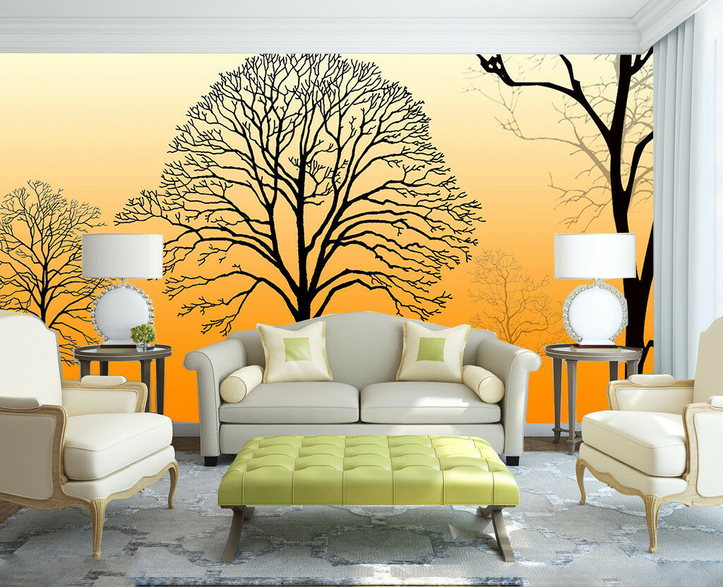 3D Tree Dusk Paint 88 Wallpaper Mural Paper Wall Print Wallpaper Murals UK Lemon