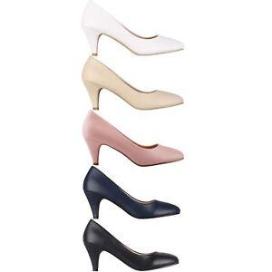 Womens-Ladies-Mid-Heel-Court-Shoes-Slip-On-Low-Kitten-Heels-Pumps-Matte-Size-3-8