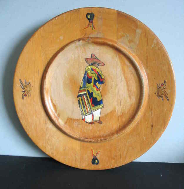 """Round 14"""" Hand Painted Southwest SW Toleware Wood Lazy Susan Tray FREE SH"""