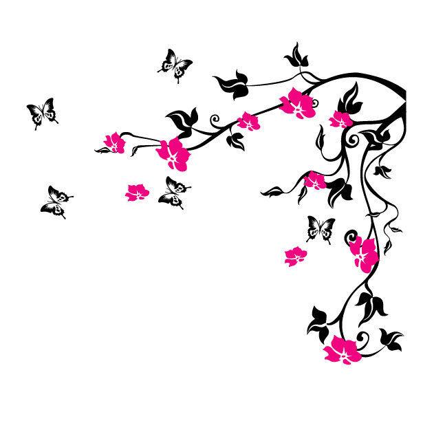 Farfalla Vite Fiore Adesivi Da Parete Floreali Sui Muri Vinile
