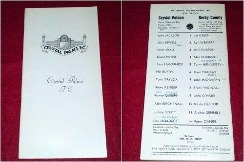 PROGRAMME Crystal Palace v Derby County Dec 11 1970