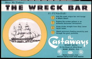 MIAMI-BEACH-FL-Castaways-Resort-Motel-The-Wreck-Bar-Restaurant-Vintage-Postcard