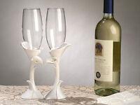 Calla Lily Toasting Flutes Glasses Wedding Toast