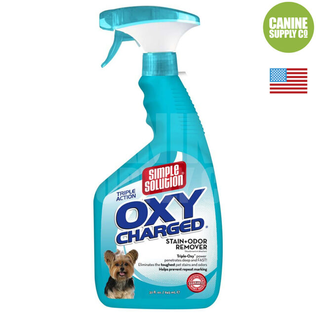 Simple Solution Oxy Charged Stain + Odor Remover (Tough Urine Stains), 32-Ounce