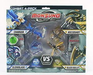 MONSUNO vs 4 pack GLOWBLADE CHARGER RICCOSHOT BLACK BULLET figures toys - NEW!