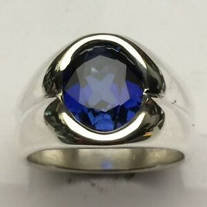 MJG-STERLING-SILVER-MEN-039-S-RING-12-x-10mm-OVAL-FACETED-BLUE-SAPPHIRE-SZ-9-3-4