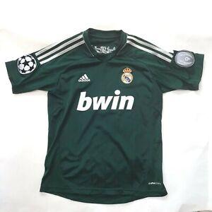 Adidas-Real-Madrid-Jersey-Medium-11-12-yrs-Green-Embroidered-Logo-Soccer-Futbol