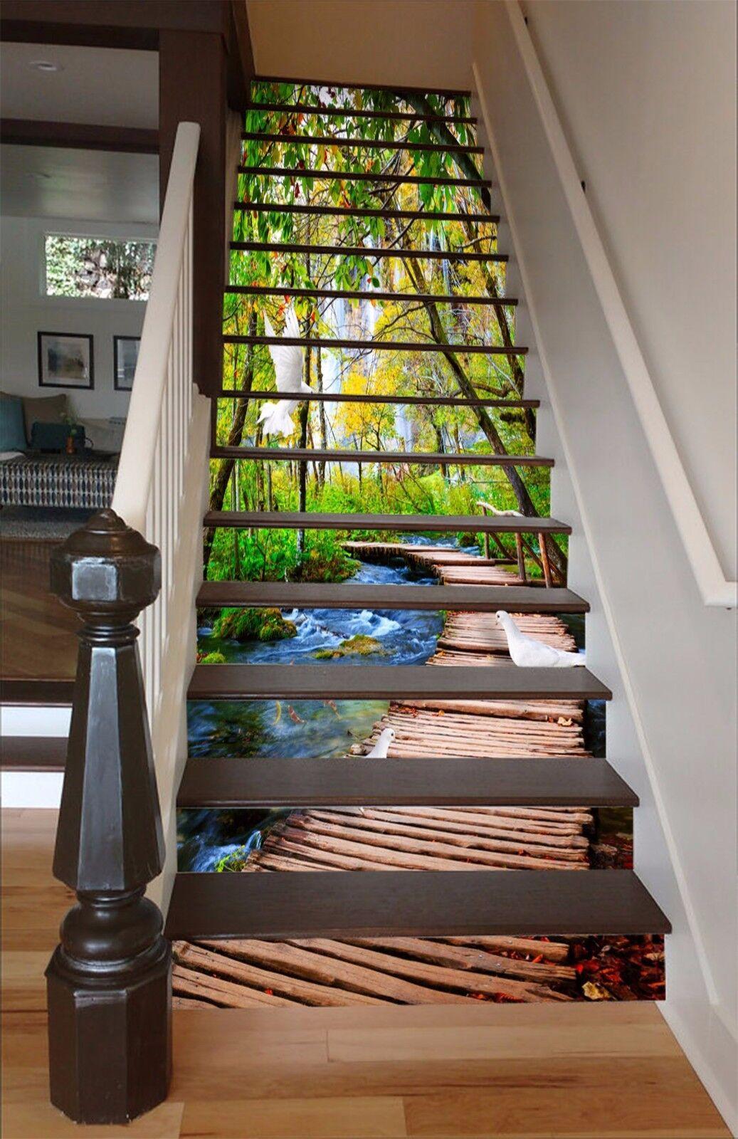 3D Wooden Bridge 98 Stair Risers Decoration Photo Mural Vinyl Decal Wallpaper AU