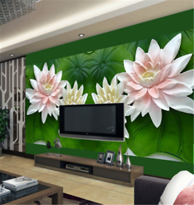 3D Green Lotus Leaf99 Wallpaper Mural Paper Wall Print Wallpaper Murals UK Carly