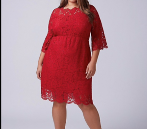 Lane-Bryant-Scallop-Edge-Lace-Fit-Flare-Dress-Plus-14-16-18-22-24-Red-1x-2x-3x