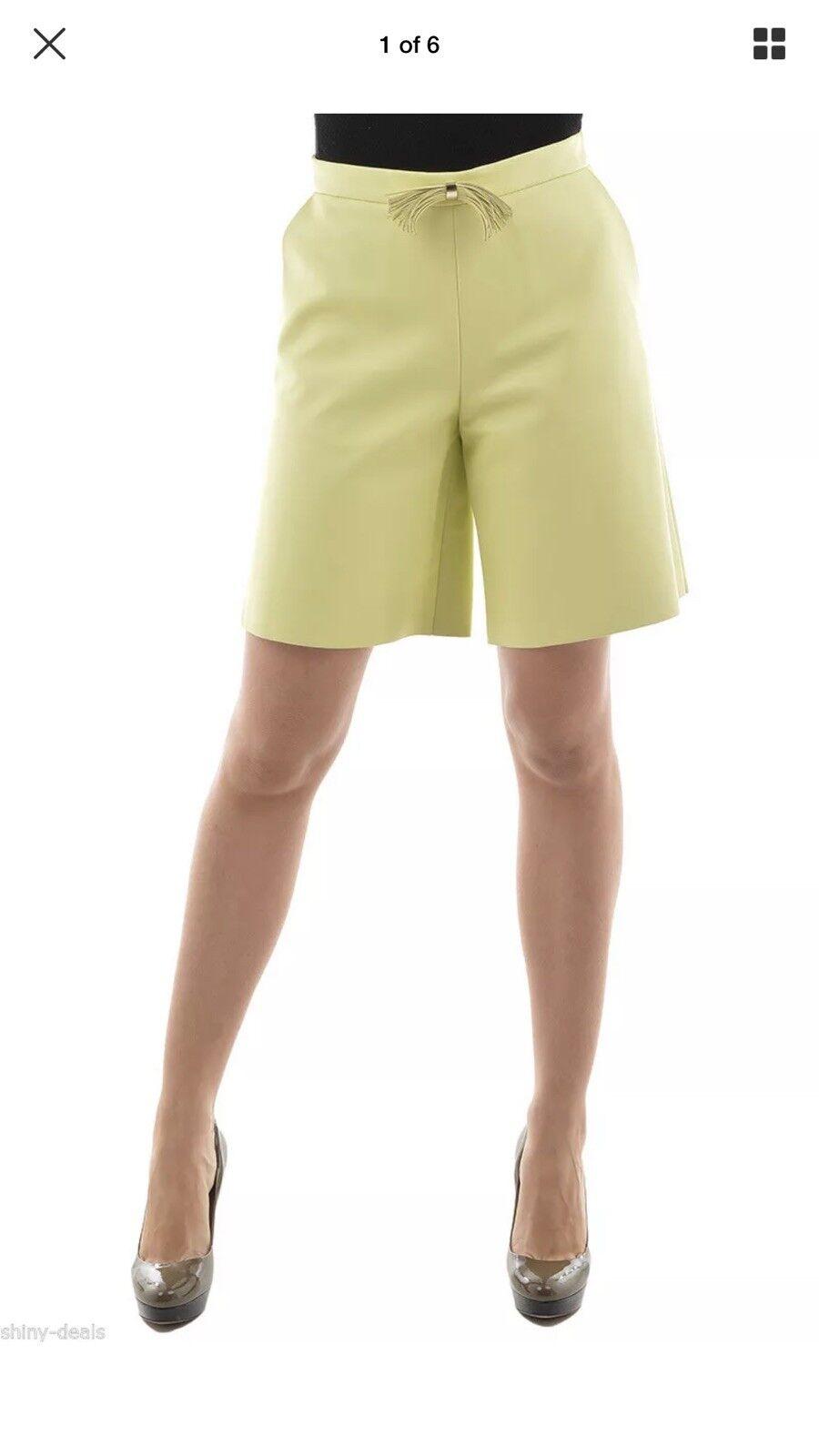 DROMe Yellow Lemon Lamb Leather Bermuda Shorts Pants Trouser size S, Fully Lined