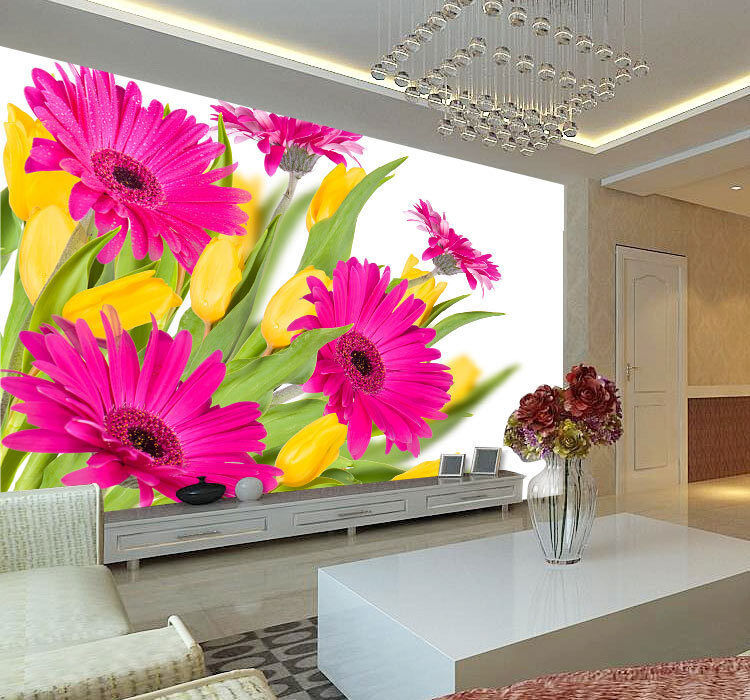 Gerberas colord Flowers Full Wall Mural Photo Wallpaper Print Home 3D Decal
