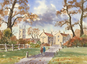 John A. Case - Signed Contemporary Watercolour, Autumnal Walk in Bristol