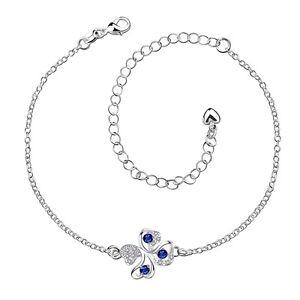Sterlingsilber M Damen Fußkette Zirkonia/strass Blau Anhänger Kleeblatt Pl