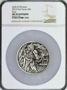 2021 P $5 Gods of Olympus: Zeus 5 oz Silver NGC MS 70 Antiqued Mintage 50 COA #2