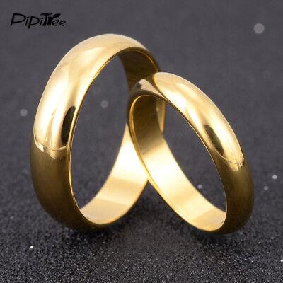 Gold Wedding Rings Men Women Simple Engagement Ring Couple Lovers Jewelry Set Ebay