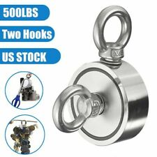 500lb Double Sided Fishing Magnet Kit Super Strong Neodymium 2 Hooks Salvage Us