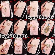 Glitter Crystal Bling Rhinestone Diamonds Soft Gel TPU Case Cover With strap #15