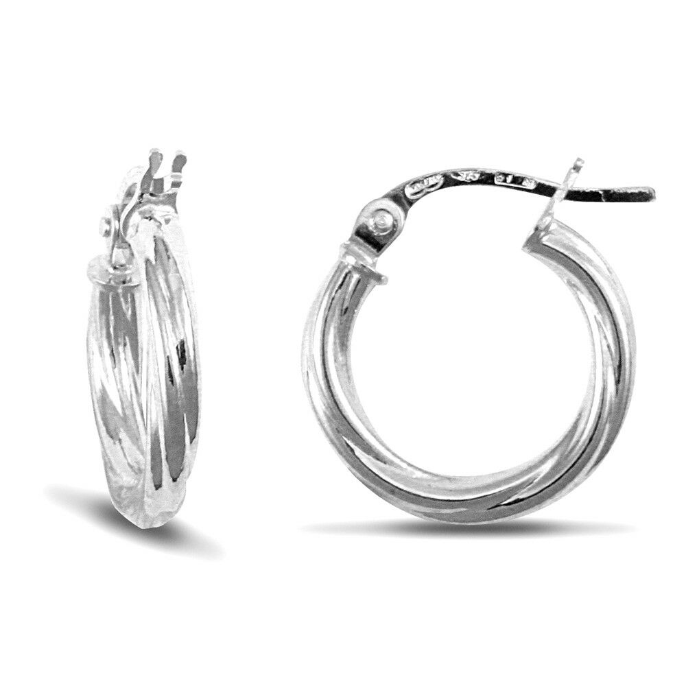 Forever Mine Fine Jewellery Co. 9ct White gold Twisted 2.5mm Hoop Earrings 13mm