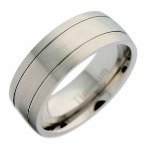 8mm Titanium Brushed Wedding Ring 2 Polished Grooves Comfort Fit