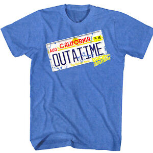 Back-to-The-Future-OUTATIME-DeLorean-License-Plate-Tag-Men-039-s-T-Shirt-Car-Movie