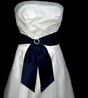 NAVY BLUE Satin Wedding Fancy Dress Party Sash Tie Belt Tie Band Bridesmaid Bow