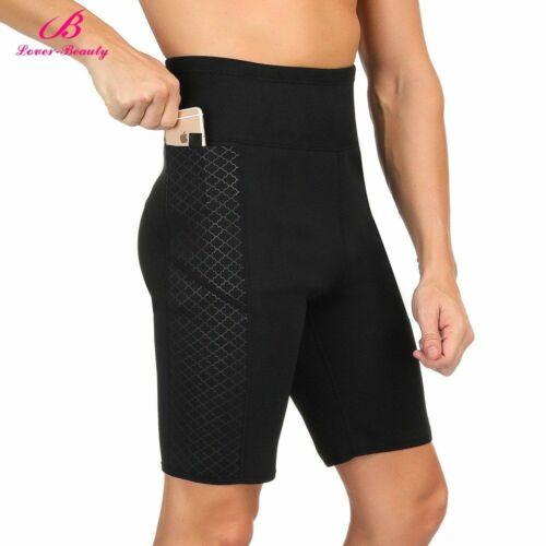 Men High Waist Slimming Pants Thermo Neoprene Body Shaper with Side Pocket Short