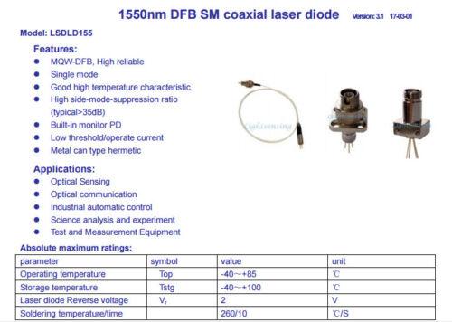 Fiber Output Power 1550nm DFB Laser Diode 4mW DJKFC Casendusty LAB High Quality