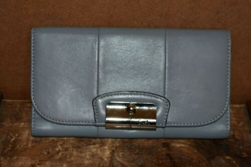 Coach Light Gray/Blue Leather Wallet