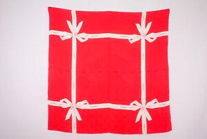 CHANEL-84-cm-Vintage-Large-Scarf-100-Silk-Ribbon-Perfume-Coco-Mark-Red-2442k