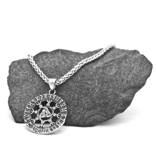 Remolque de acero inoxidable runas anillo vegvisir zopfkette set celtas nodos k-a017