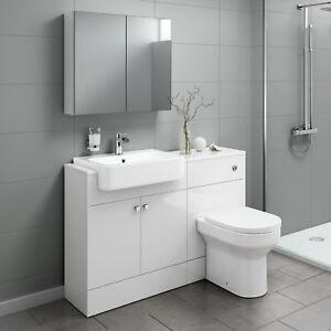 Image Is Loading Combined Vanity Unit Basin Toilet Mirror Cabinet Bathroom