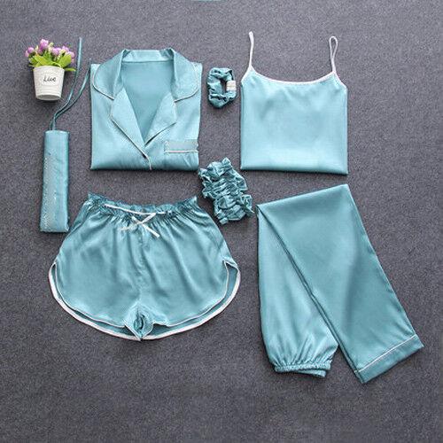 7PCS Damen Seide Satin Pyjama-Sets Nachtwäsche Nachtwäsche Pyjama Loungewear