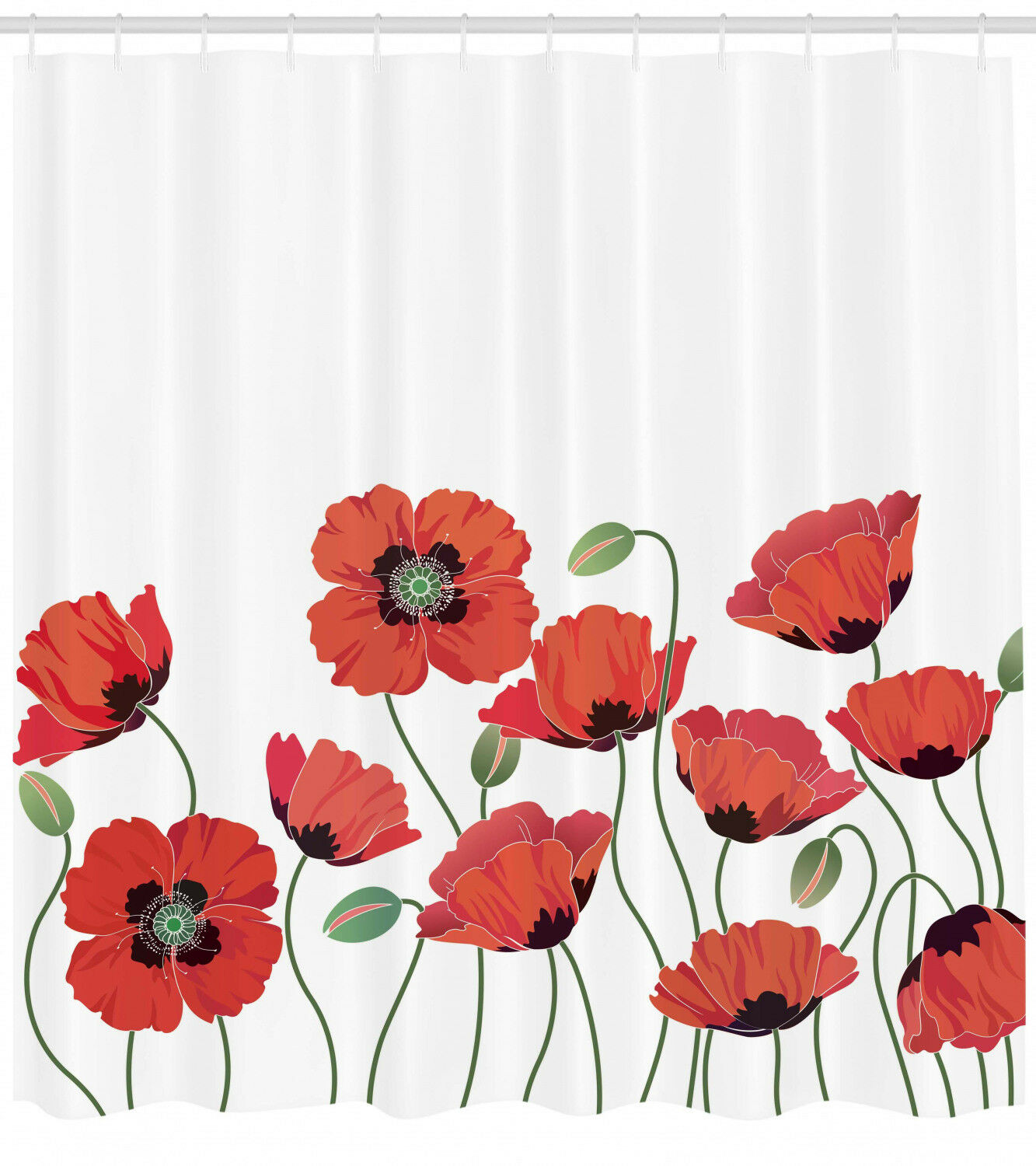Floral Shower Curtain Natural Poppy Garden Print For Bathroom 75 Inches Long 45f718