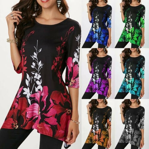 Womens Floral Print Short Sleeve T-shirt Ladies Summer Casual Tee Tops Plus Size