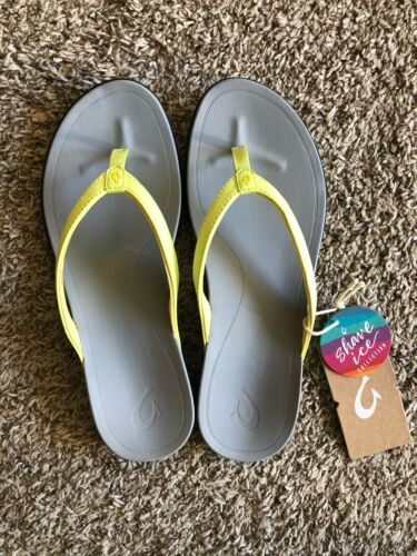 Details about  /Olukai Ho/'Opio Shave Ice Pineapple Yellow Pale Gray Leather Sandal 6 10 NWT