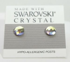 Blue-Silver-Round-Stud-Earrings-6mm-Crystal-Made-with-Swarovski-Elements-AB