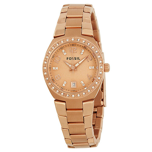 Fossil Rose Dial Rose Gold-tone Ladies Watch AM4508