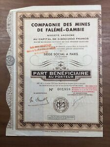 Sénégal 1941 Compagnie des Mines de Falémé Gambie Notaire Grange Paris Afrique
